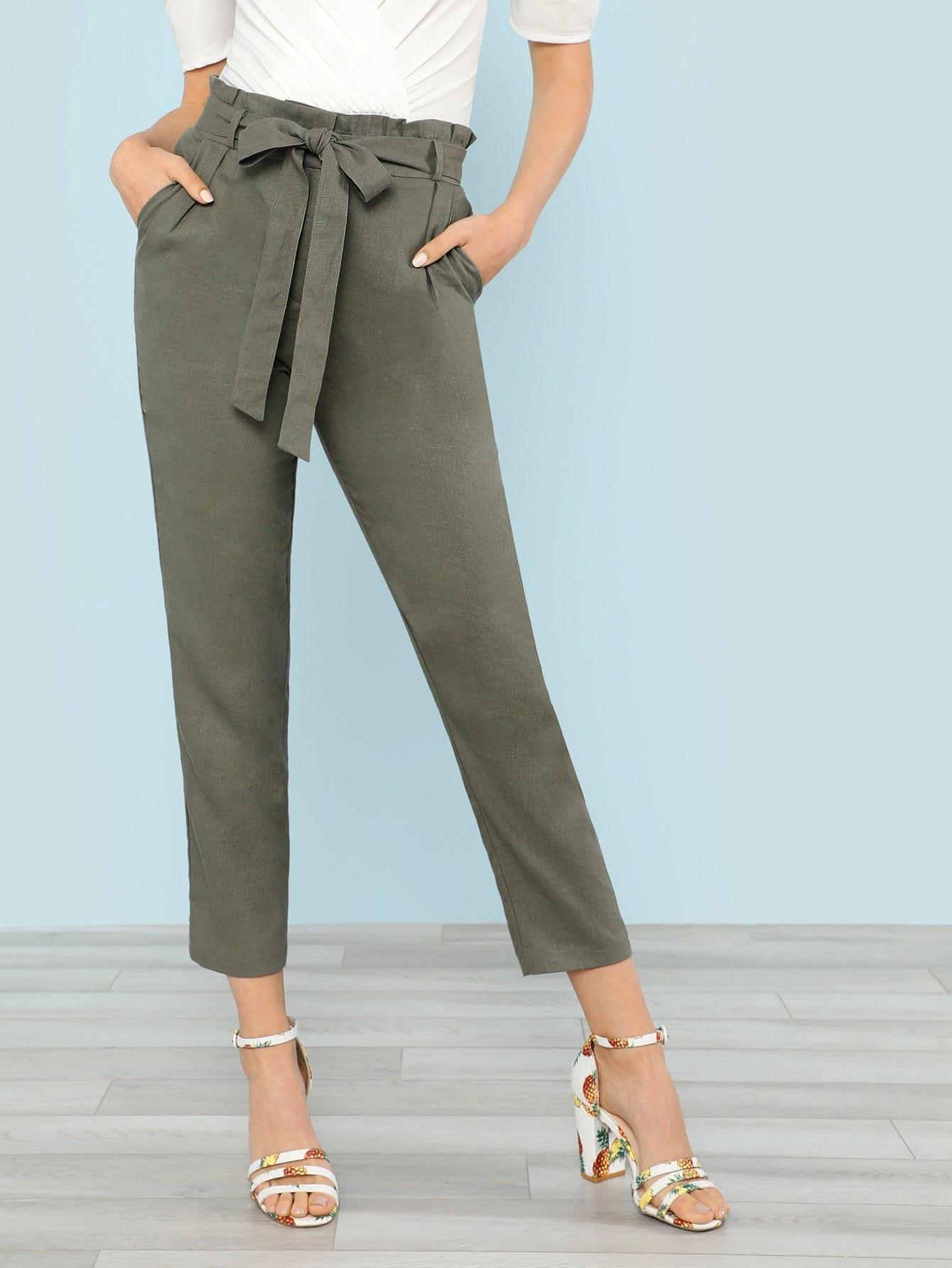 Paper Bag Waist Self Tie Pants Olive Shein Sheinside
