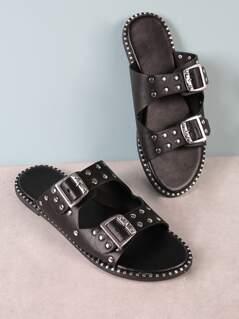 Studded Buckled Strap Slide Sandal with Metallic Trim Detail BLACK