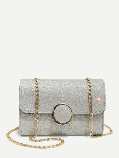 Glitter Flap Chain Shoulder Bag