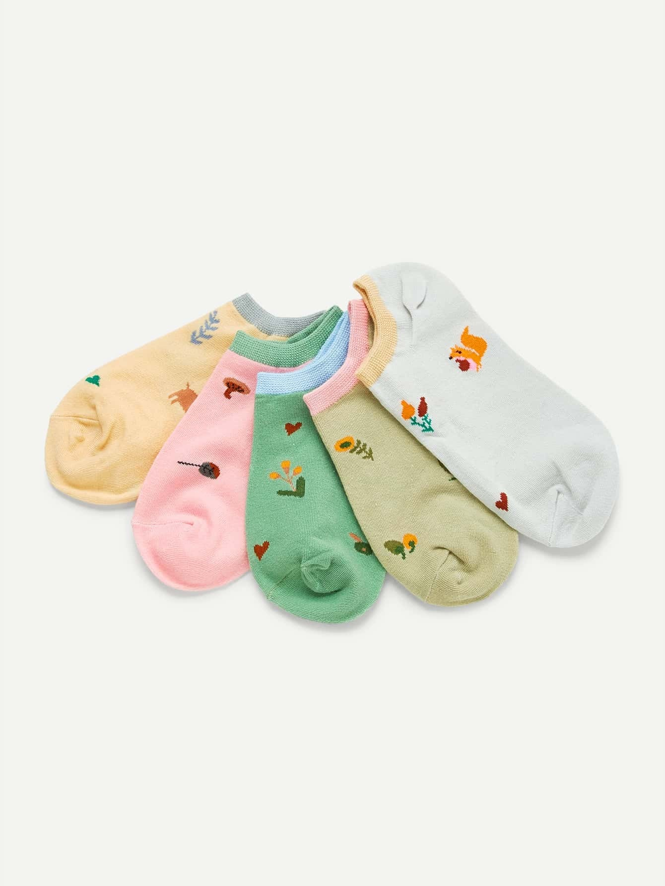 Calico Print Ankle socks 5pairs 3d panda baby one side print crazy ankle socks