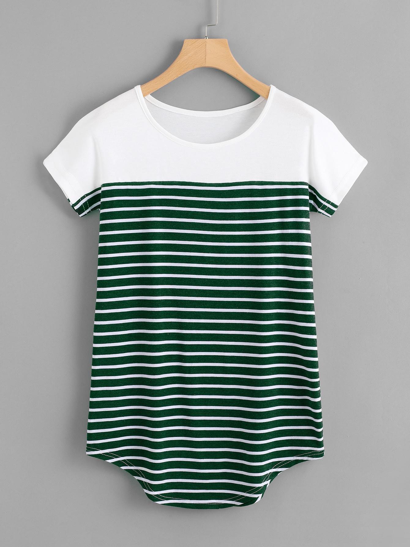 Striped Curved Hem Tshirt striped longline tshirt