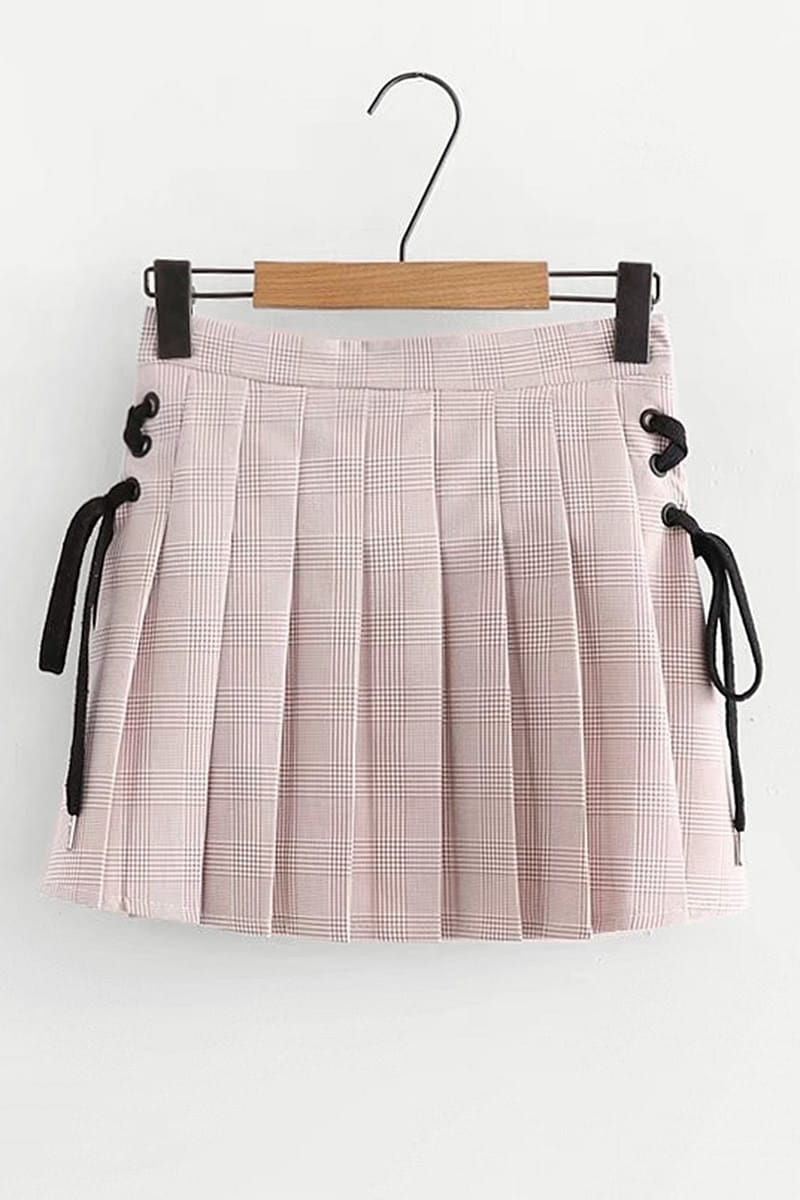 Lace Up Side Wales Check Pleated Skirt split front wales check skirt