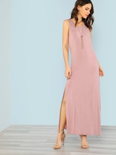 Sleeveless Shirt Dress with Side Slits and Keyhole Back Detail DUSTY PINK