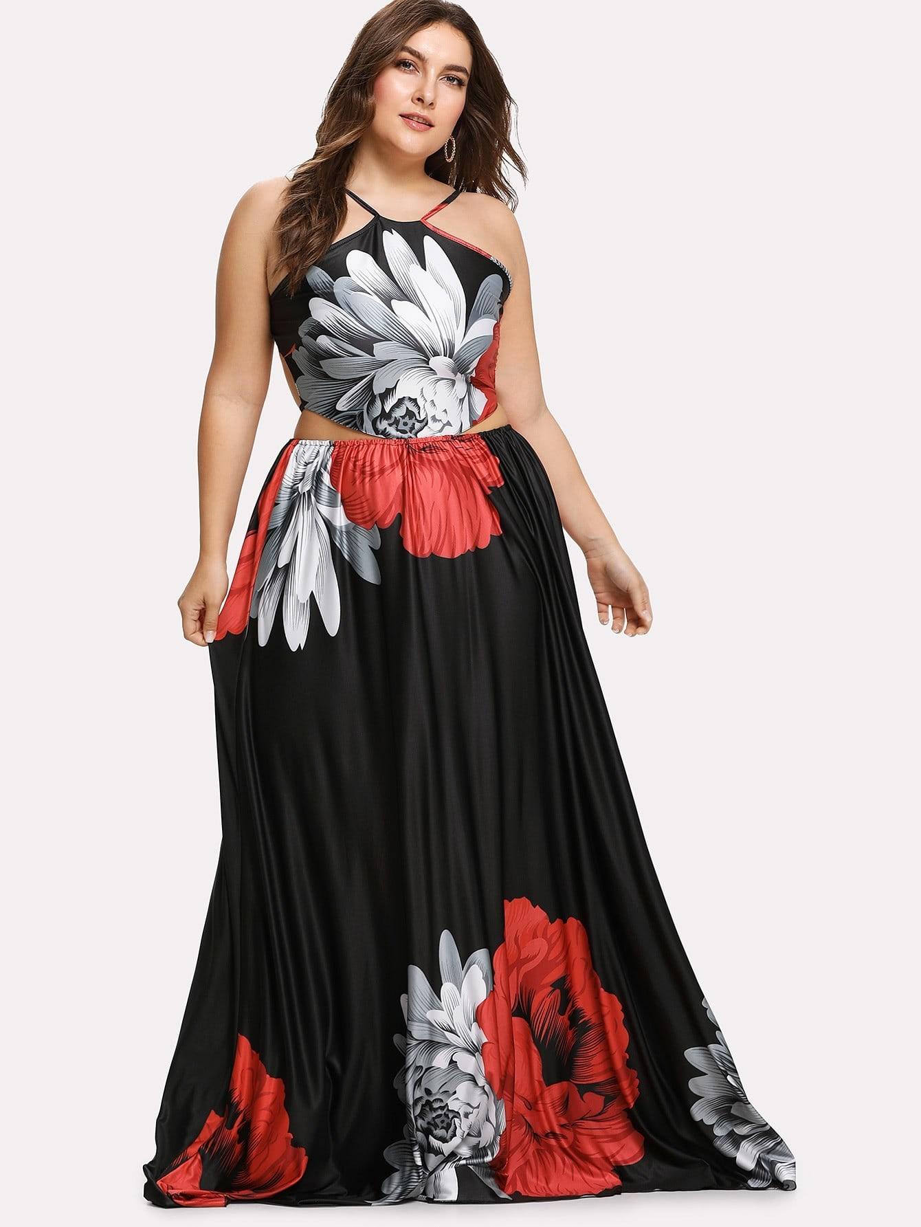 Flower Print Lace Up Backless Dress butterfly print lace up slip dress