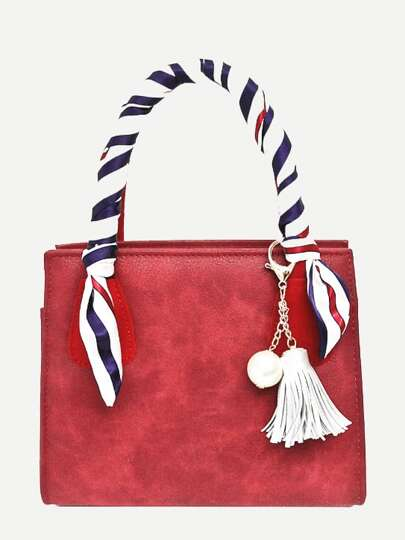 Faux Pearl & Tassel Charm Bag con Twilly Scarf