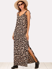 Split Side Knot Shoulder Leopard Dress