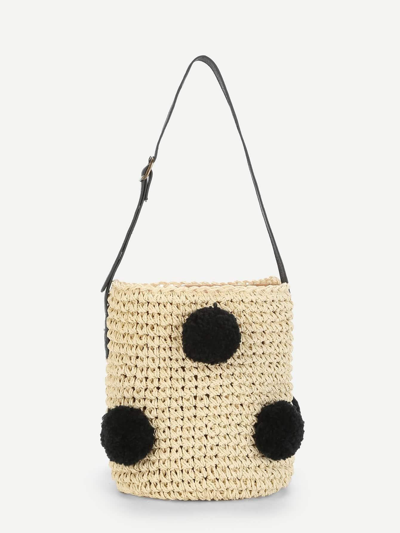 Pom Pom Decorated Straw Bucket Bag straw clutch bag with pom pom