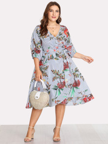 Surplice Wrap Floral & Striped Dress