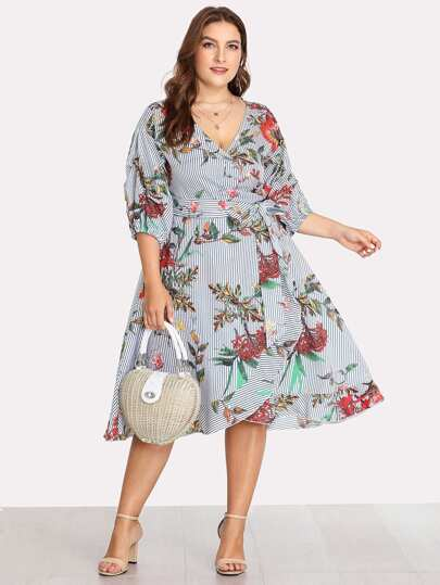 Surplice Wrap Floral & Striped Dress