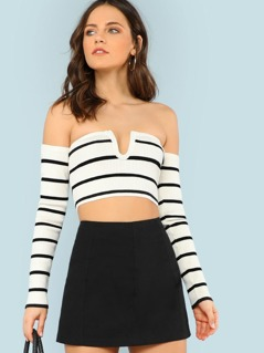 V Cut Detail Striped Ribbed Knit Bardot Crop Top WHITE BLACK