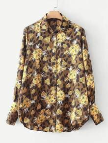 All Over Cat Print Leopard Shirt