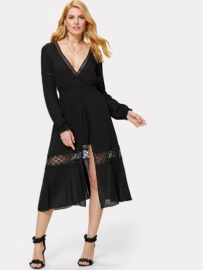 Wrap Front Lace Insert Split Dress