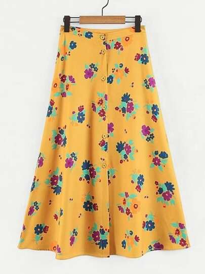 Button Through Florals Skirt
