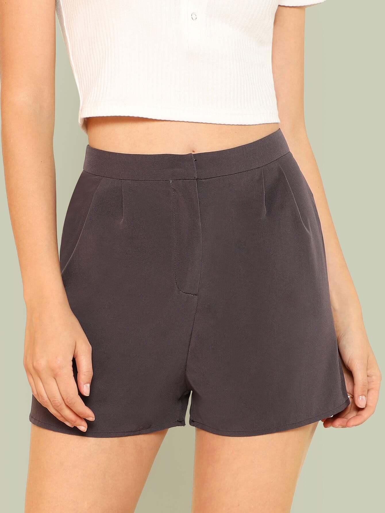 Fold Pleat Detail Tailored Shorts box pleat detail palazzo pants