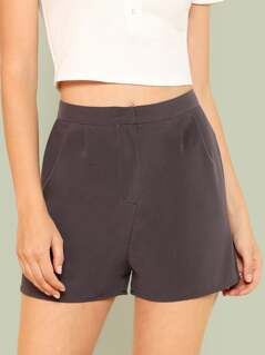 Fold Pleat Detail Tailored Shorts