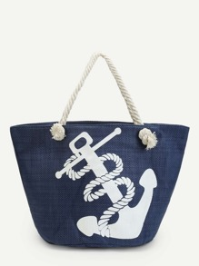Anchor Print Canvas Tote Bag