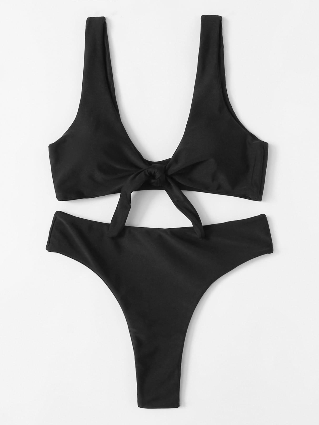 Knot Front Plunge Neckline Bikini Set plunge neckline open back bikini set