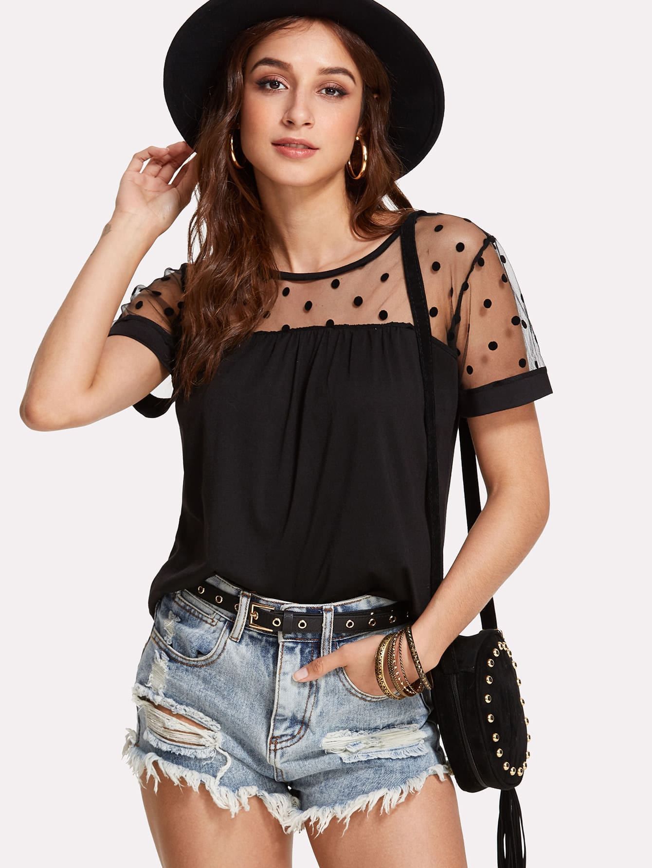 Dotted Mesh Panel Tee contrast dotted mesh bodysuit