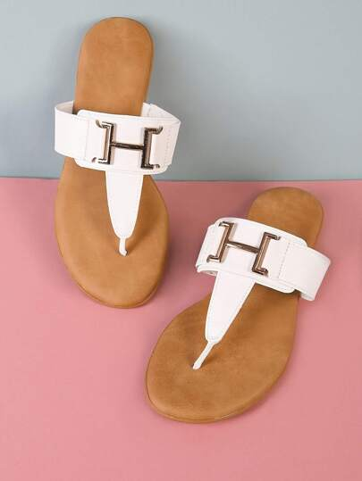 T-Strap Thong Sandal with Thick Buckle Strap WHITE