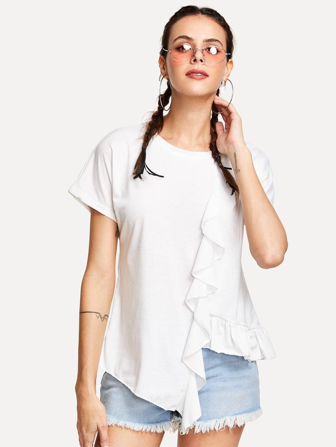 Ruffle Trim Asymmetric T-shirt asymmetrical ruffle trim t shirt