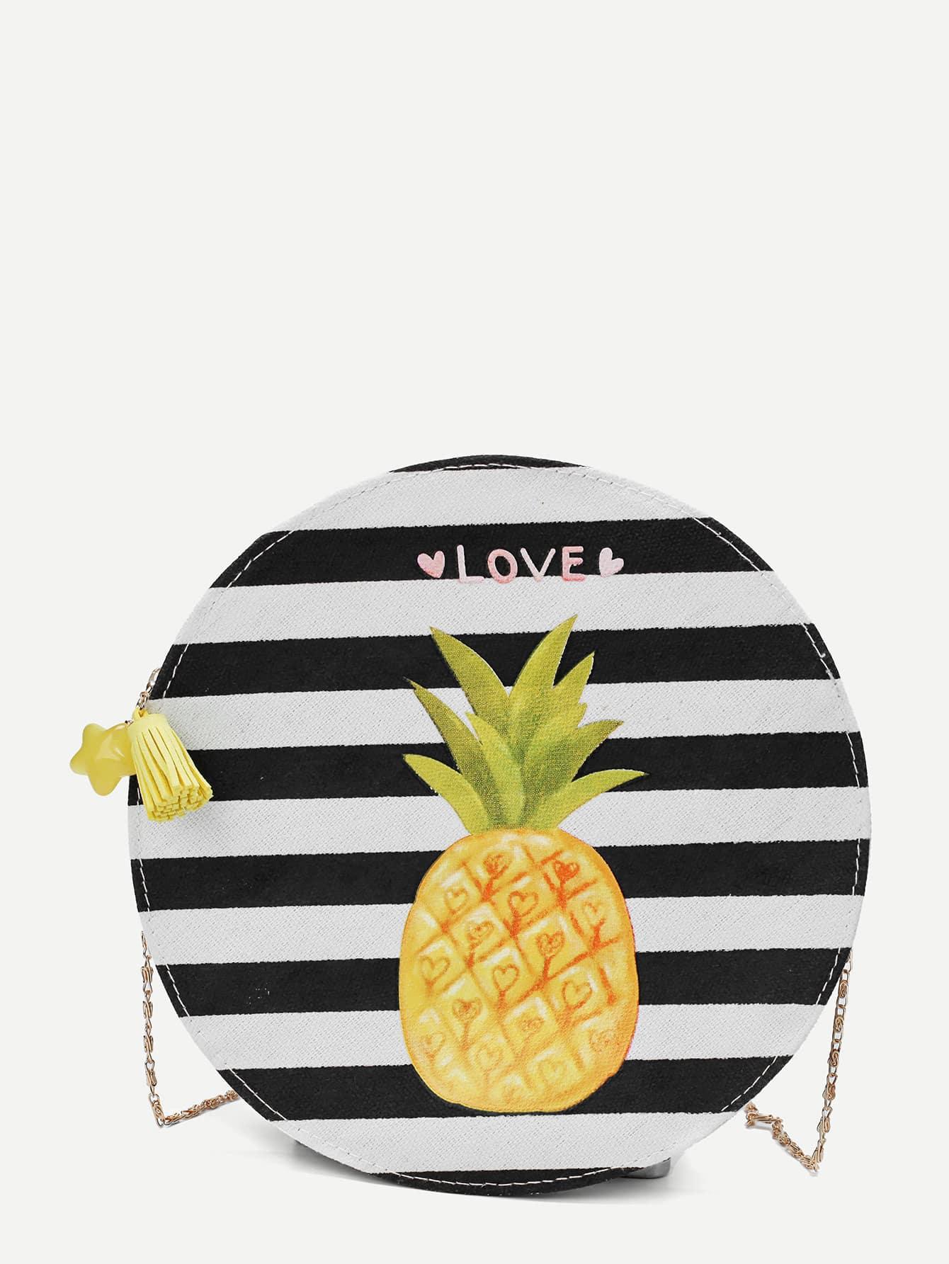 Striped Detail Pineapple Print Chain Bag
