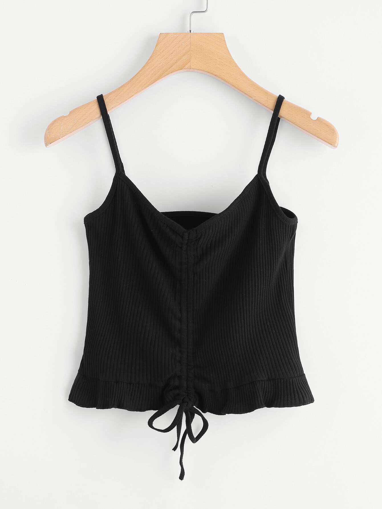 Drawstring Ribbed Cami Top