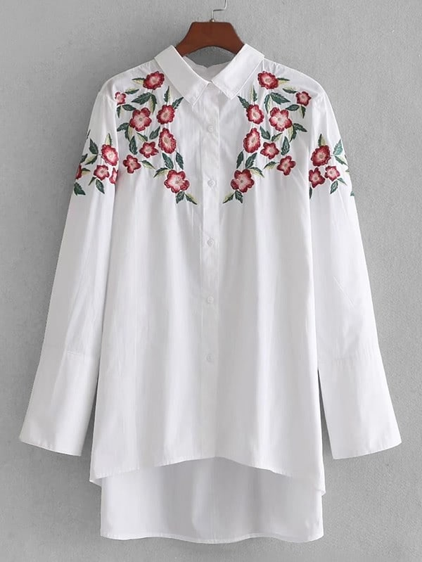 High Low Embroidery Shirt