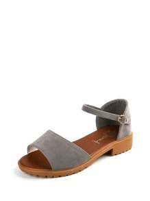 Peep Toe Single Band PU Sandals