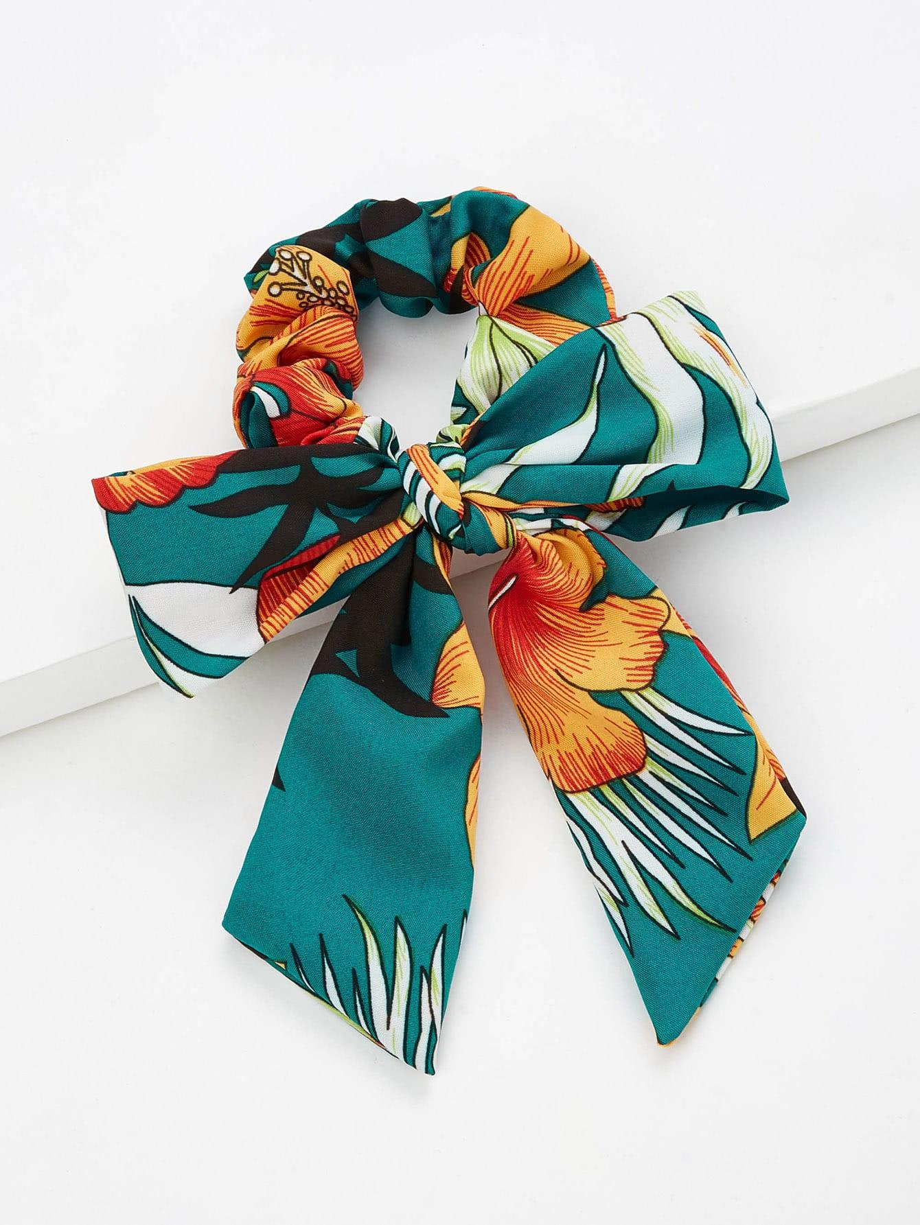 Flower Print Hair Tie With Bow bow tie hair ties set