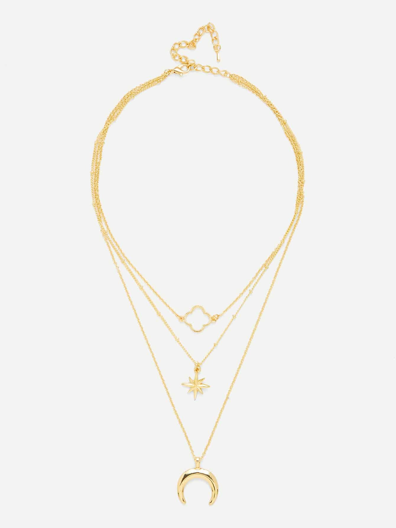 Moon & Flower Pendant Link Layered Necklace цена 2017