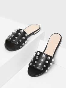 Studded Decorated PU Flat Sandals