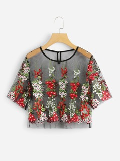 Floral Embroidered Sheer Crop Mesh Top
