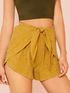 Tie Front Elastic Waist Shorts MUSTARD