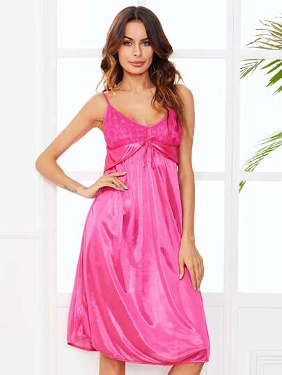 Bow Tie Front Satin Nightdress