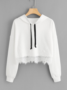 Lace Hem Drop Shoulder Hoodie