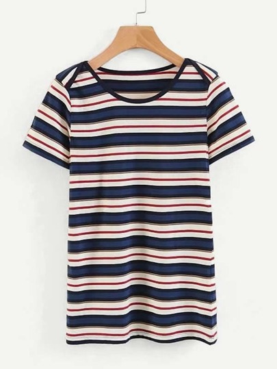 T-shirt a righe multiple