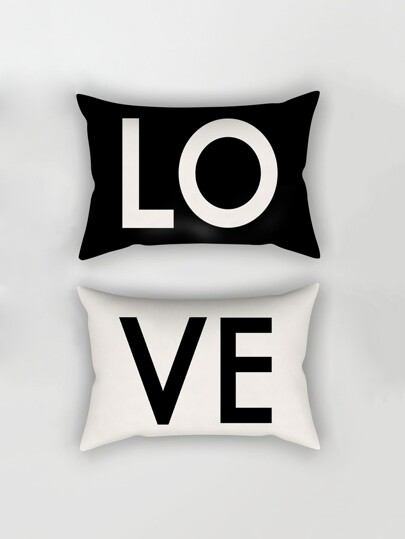 Letter Print Pillowcase Cover 1pair