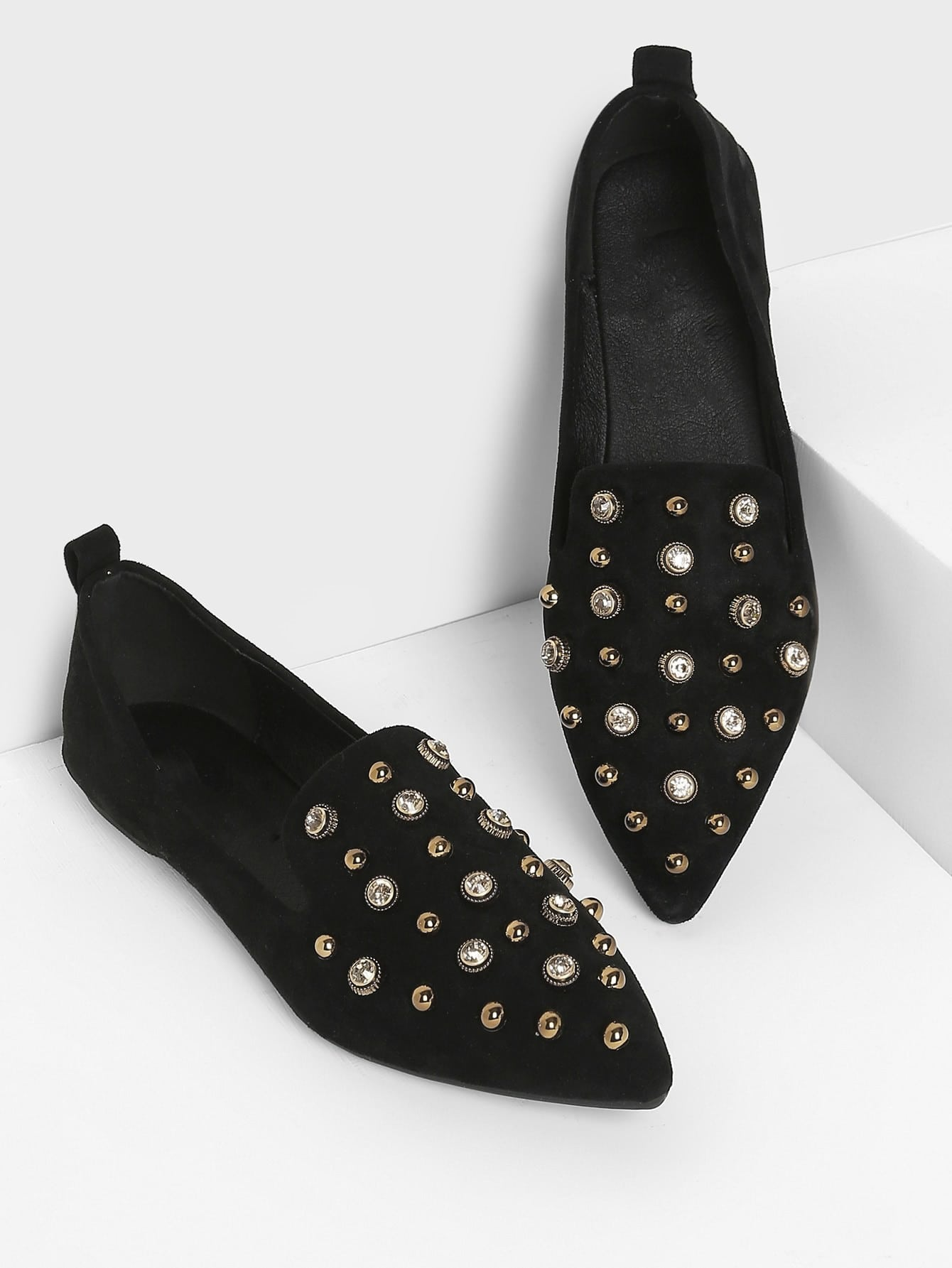Studded Decor Pointed Toe Flats