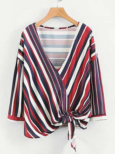 Multi Stripe Surplice Neckline Top