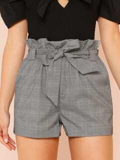 Glen Plaid Paper Bag Waist Belted Shorts GREY