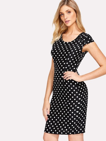 Cap Sleeve Spot Sheath Dress