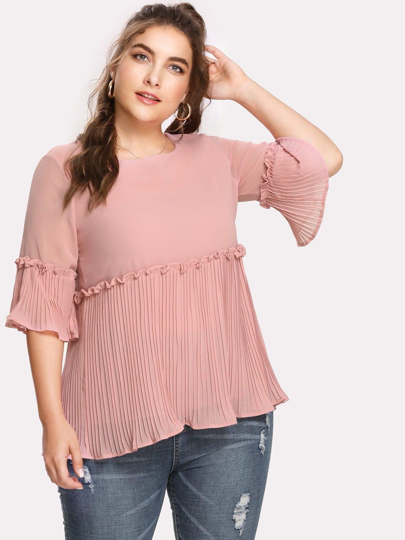 Плиссированная деталь Frill Trim Шифон блузка