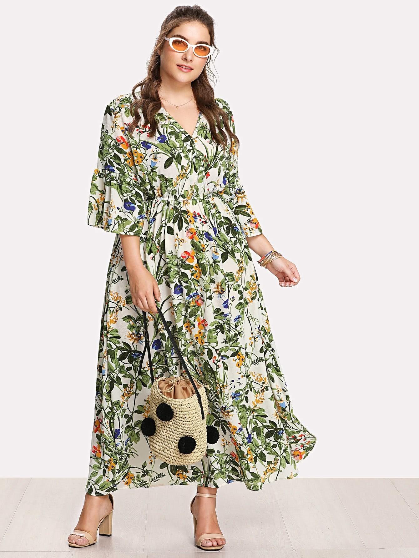 Купить Модное платье с запахом и цветочным принтом, Franziska, SheIn