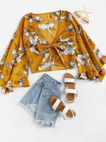 Bell Sleeve Floral Print Knot Front Kimono