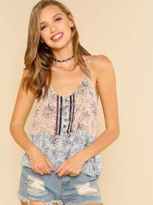 Button Front Smock Cami Top