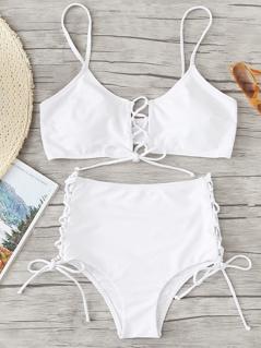 Lace Up Detail Top With High Waist Bikini Set