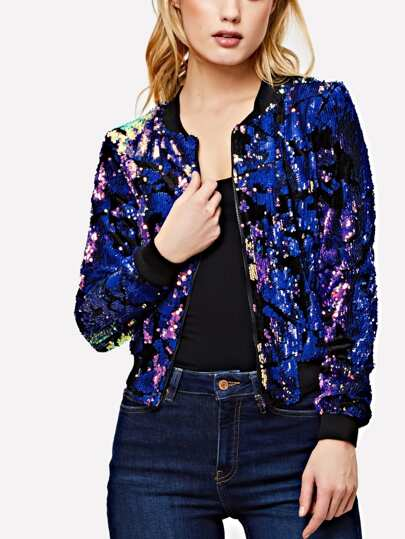 Ribbed Trim Sequin Bomber Jacket