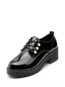 Patent Leather Faux Pearl Decor Oxfords