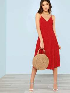 Polka Dot Tie Waist Sheer Dress RED