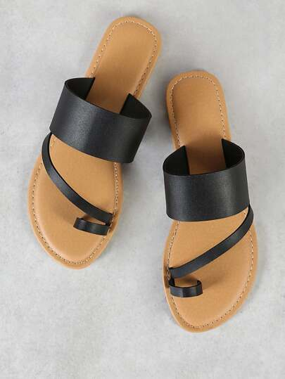 Toe Ring Diagonal Strap Single Band Slide Sandal BLACK
